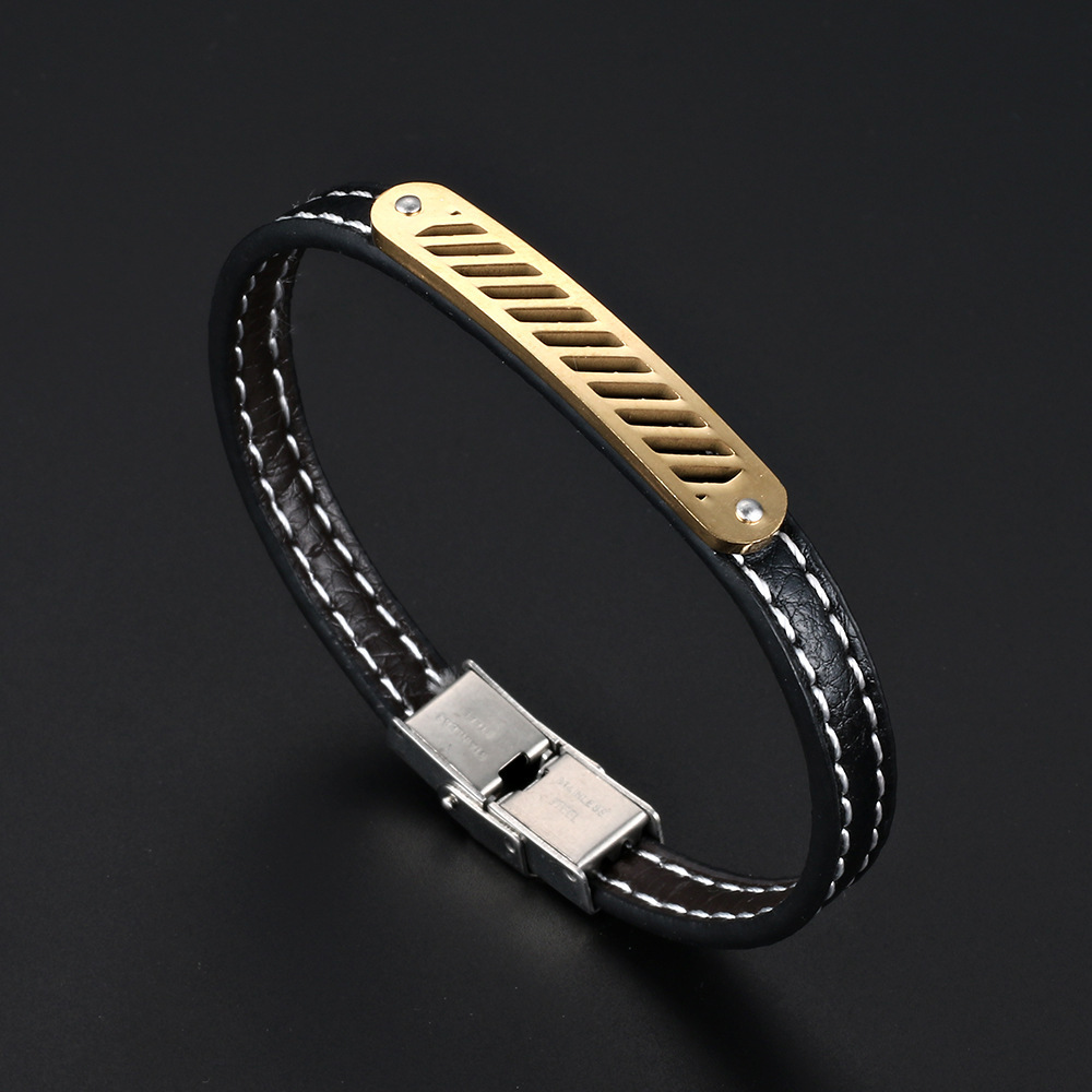 NAIQUBE Men Bracelet Leather Stainless Steel Classic Trendy Bracelets & Bangles For Men Fashion Jewelry Gift