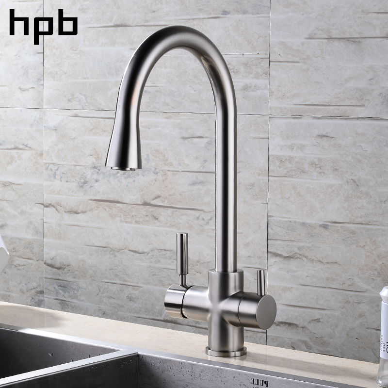 HPB Brushed Nickel Finished 3 Way Kitchen Faucet Filter Water Tap 2 Functions Sink Mixer Hot And Cold Water 360 Rotation HP4303 epman universal 3 aluminium air filter turbo intake intercooler piping cold pipe ep af1022 af