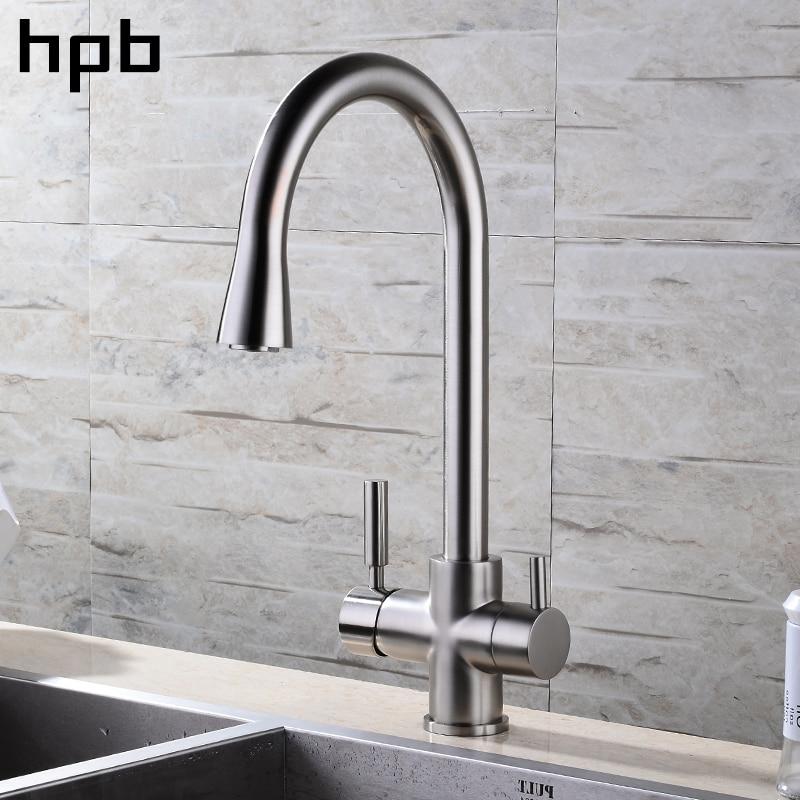 HPB Nichel Spazzolato Finito 3 Vie Rubinetto Della Cucina Filtro Acqua di Rubinetto 2 Funzioni Miscelatore Lavello Acqua Calda E Fredda 360 Rotazione HP4303