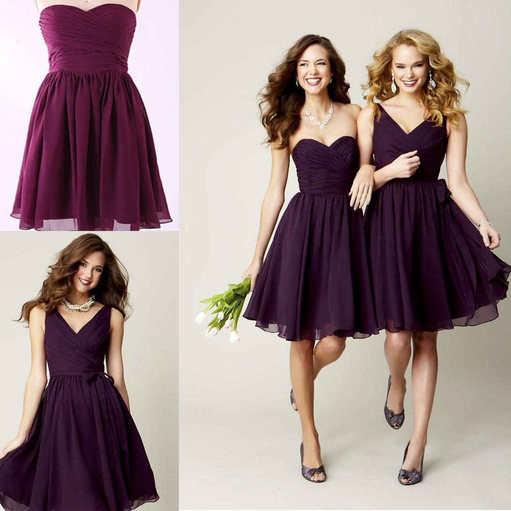 vestidos-de-novia-2015-Sweetheart-Dark-Purple-Bridesmaid-Dresses-V-Neck-A-line-Chiffon-Short-Bridesmaid