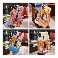 10pcs/lot 3 in one Relax Kuma Bear Hide Ring Holder Stand Phone Case Novelty Cover For iPhoneXs max 8plus 6s 7plus Body Shell