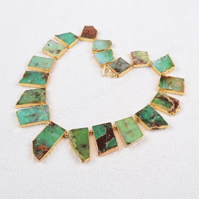 """Nueva llegada Classic 18 """" chapado en oro Natural Australia Jade collar de la joyería para para G0404"""