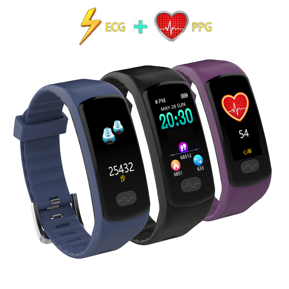 Smart Band Fitness Bracelet Heart Rate Monitor Tracker Smart Wristband ECG/PPG Blood Pressure Smart Watch for IOS Android Phone dawo ecg smart bracelet blood pressure smart wristband heart rate temperature pedometer bluetooth fitness band for ios android