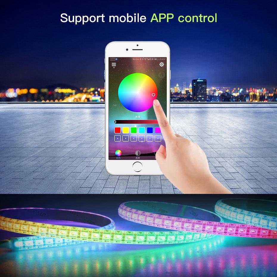 5M 12V LED Strip Light RGB SMD 5050 Waterproof LED Strip Ribbon Diode Tape Flexible Strip Light Lamps Phone Bluetooth Controller (6)