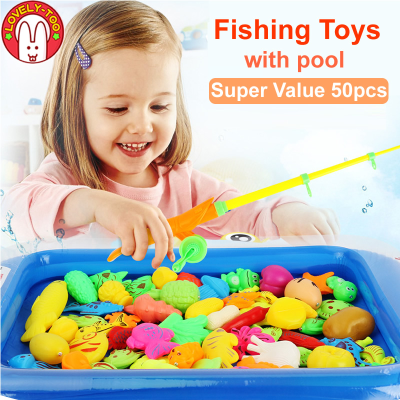 50pcs Magnetic Fishing Toy Fish Playing Magnets With Rod Set And Net Baby Games Educational Toys For Children Sports Complex