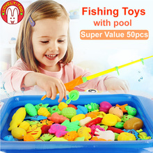 50pcs Magnetic Fishing Toy Magnets Games With Rod Set Net Miraculou Fish Kits Outdoor Educational Sports Toy For Babies cheap Lovely Too Plastic Unisex 3 years old 9981-1 Certificate Non-electric Magnetic 3D fishing game