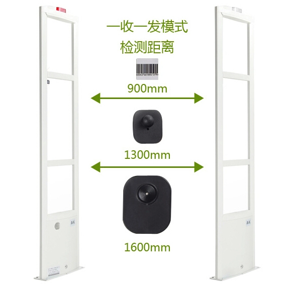 hot sales EAS RF anti theft security door system  LED alarm system fcloth store supplier in china free detacher and security tag