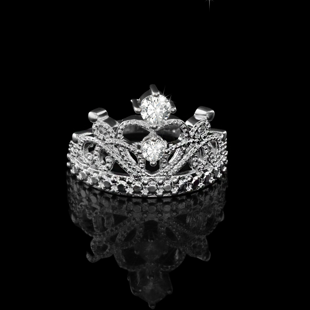 Silver Plated AA Cubic Zirconia Princess Crown Ring