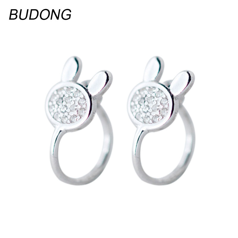 BUDONG Real 925 Sterling Silver Hoop Earring for Women Cute Rabbit Huggies Casual Earing Fine Jewelry Female Engagement Jewel