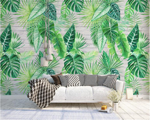 beibehang Classic personality fashion wallpaper Nordic simple tropical plant turtle leaf background wall murals 3d