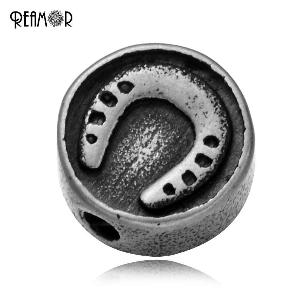 REAMOR 316L Stainless Steel Round Horseshoe Logo Charms Beads 2mm Small Holes Beads For DIY Lucky Bracelet Jewelry Making