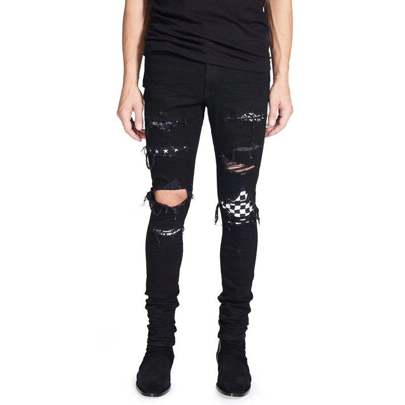 2018 High Street Fashion Hommes de Jeans Top Qualité Noir Couleur Hip Hop Jeans Hommes Punk Pantalon Skinny Fit Balplein marque Ripped Jeans