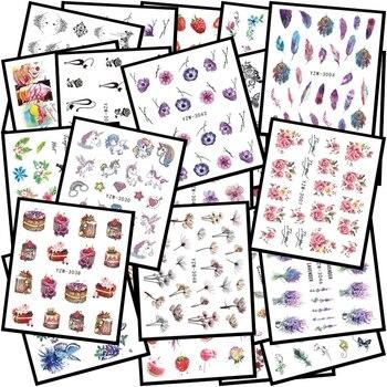 цена на LCJ 48 Popular Black Sticker Nail Art Necklace unicorn Jewelry Cat Butterfly Pendant Manicure Tips Nail Water Transfer Decals