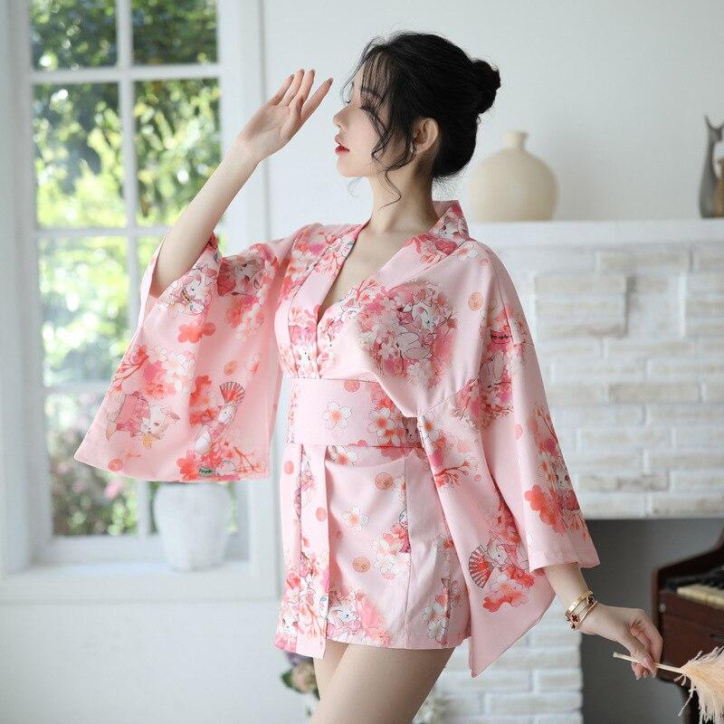 Платье-кимоно для девочек Сакура, японский стиль, халат юката, женский халат с цветочным принтом, Haori, японская униформа, карнавальный костюм...