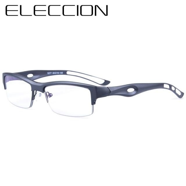 f160761358db ELECCION TR90 Eyewear Sport Style Glasses Frame Men 2018 Optical Frames  Spectacle Square Half Frame Gafas Clear Glasses