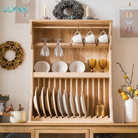 No Paint Solid Wood Multifunctional Rack for Plate Dressages Cup Holder Art Decoration Hereupon American style storage Cupboard