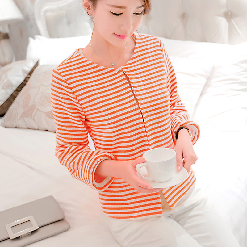 Spring and summer 2018 new Korean version striped small suit leisure straight tube college wind long-sleeved jacket