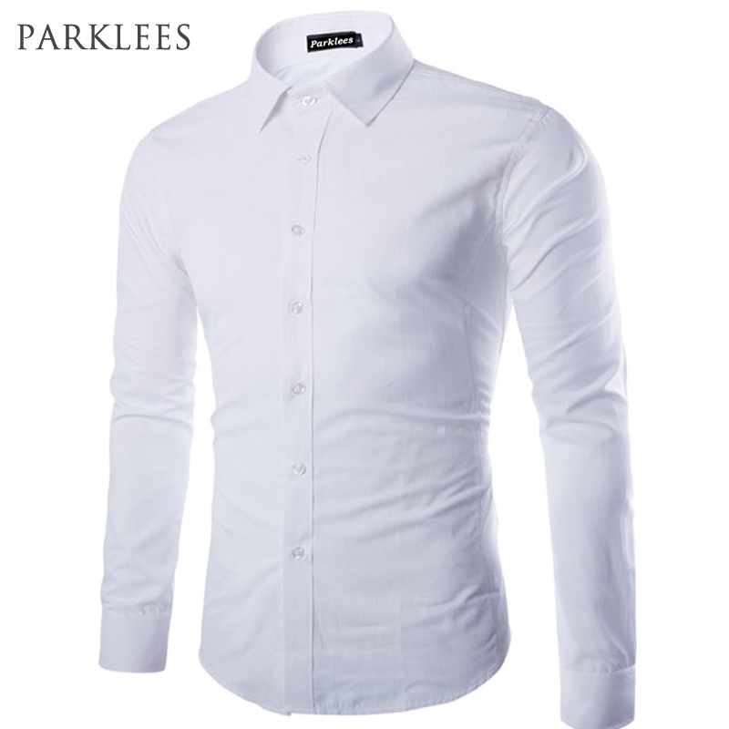 Buy brand white men shirt long sleeve for Men slim fit shirts