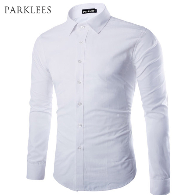 Populaire Brand White Men Shirt Long Sleeve Chemise Homme 2016 Fashion  JB65