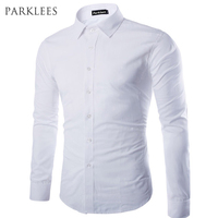 Brand White Men Shirt Long Sleeve Chemise Homme 2015 Fashion Business Design Mens Slim Fit Dress