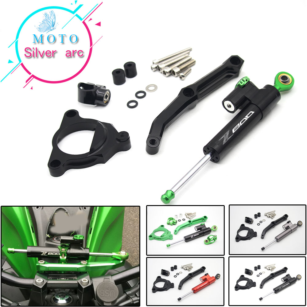 цена на CNC Aluminum Adjustable Motorcycles Steering Stabilize Damper Bracket Mount Kit For Kawasaki Z800 2013 2014 2015 2016