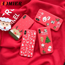 цена на Fashion Phone Case For iPhone XR XS Max X 6 6s 7 8 Plus Red Santa Claus Merry Christmas Tree Cute Phone Back Cover Cases Gift