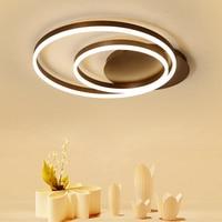 Modernas luces led de techo de control remoto para sala de estar lámparas de techo lámpara de techo led de oscurecimiento color café doble círculo|Luces para el techo| |  -