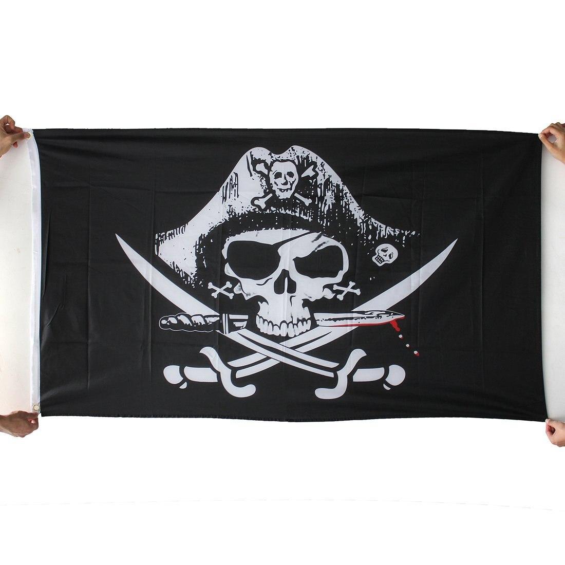 SZS Hot Drapeaux de pirate Caraibes Crane tete skull squelette corsaire sabre Jolly roger 150 x 90cm
