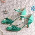 Открытым носком летние свадебные зеленый на низком каблуке свадебные сандалии бесплатная доставка