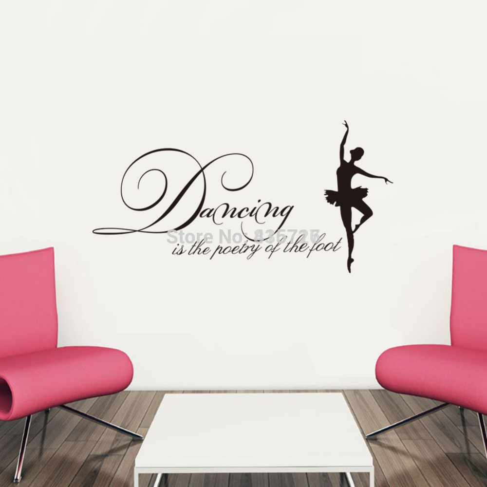 55*28cm Hot Dancing Girl Wall Stickers English Proverb Beauty Home Decoration  Posters Living Room Wall Stickers Accessories In Wall Stickers From Home ...