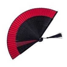 Китайский черный складной веер, декоративный Ручной Веер, украшение для женщин, для шоппинга, танцев, украшения, домашний декор