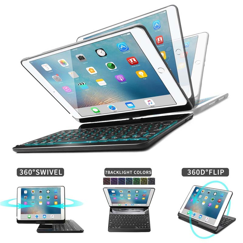 7 Color Backlit Bluetooth Keyboard Case Folio Smart 360 Rotate Stand Keyboard Cover for iPad Air/Air 2/iPad Pro 9.7 and iPad 9.77 Color Backlit Bluetooth Keyboard Case Folio Smart 360 Rotate Stand Keyboard Cover for iPad Air/Air 2/iPad Pro 9.7 and iPad 9.7