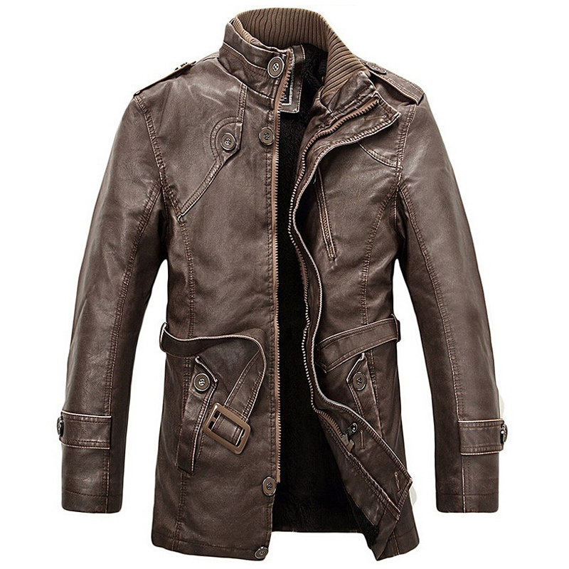 PU Leather Jacket Men Long Wool Stand Collar Coats Mens Leather Motocycle Jackets Overco ...
