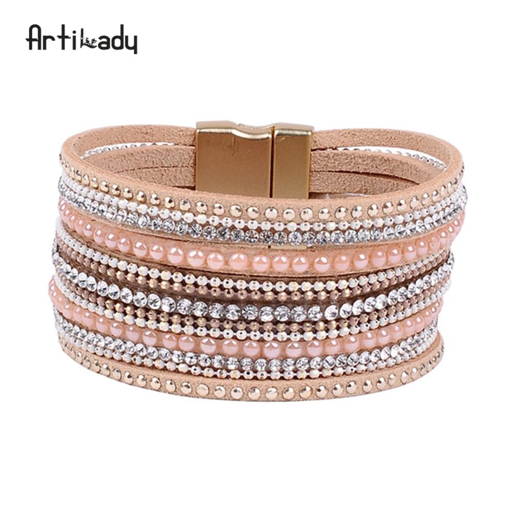 Gelang kulit artilady dengan kristal mewah desain gelang magnet gelang wanita perhiasan