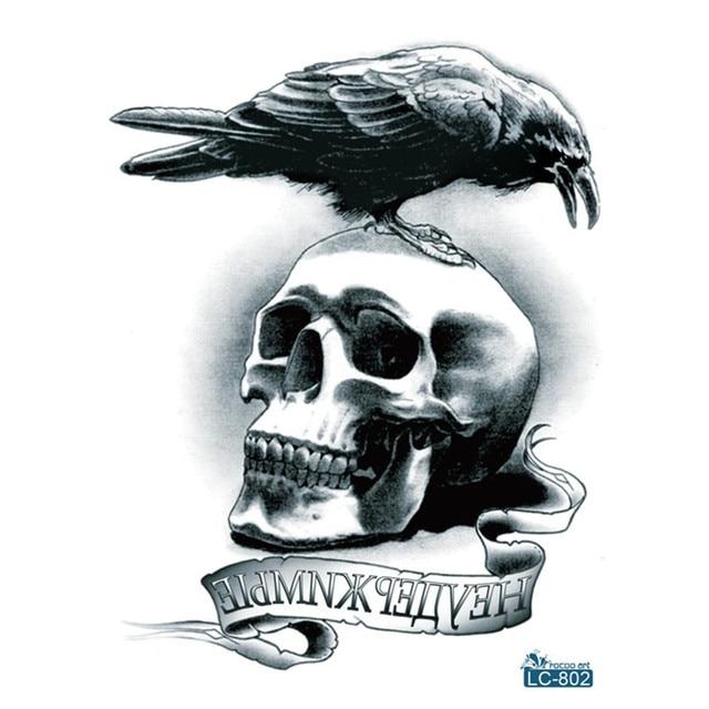Large Flash Tribal Tattoo Sticker Halloween Eagle Birds On Skull