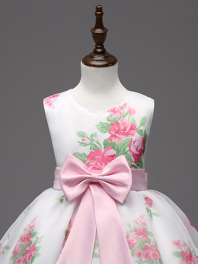 Retail New Style Summer Children Girl Print Flower Dresses
