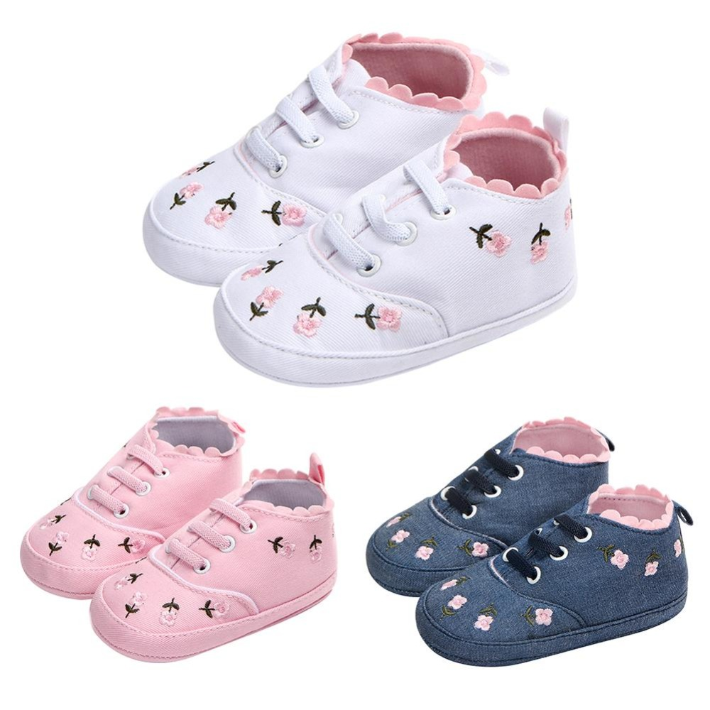 Baby Girls First Walk Shoes Lace Floral Embroidery Soft Anti-slip Prewalker Cute Fashion Casual Shoes Baby Prewalkers Foot Wear