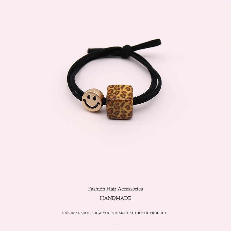 Euhra adultos Pelo elástico de la marca para las mujeres y las niñas leopardo populares cuadrado bebé sombreros de bandas de pelo accesorios