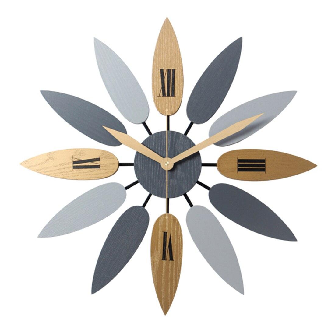 Высокое качество уникальный Nordic Стиль листьев Pattern Mute кварцевые настенные часы Ретро беззвучные часы краткое для Офис Декор в гостиную