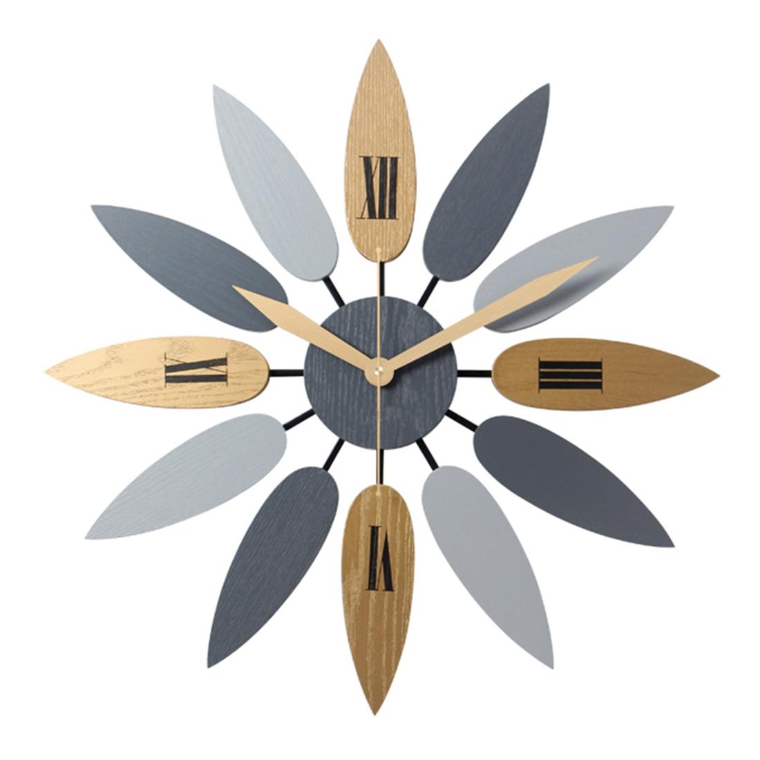 52 cm haute qualité Unique Style nordique feuille motif muet Quartz horloge murale rétro silencieux horloge bref maison bureau salon décor-in Horloges murales from Maison & Animalerie    1