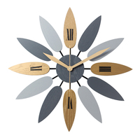 High Quality Unique Nordic Style Leaf Pattern Mute Quartz Wall Clock Retro Silent Clock Brief For Home Office Living Room Decor