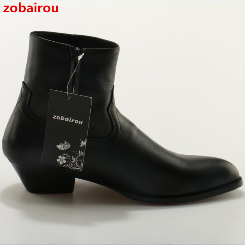 Hot Sale Men Chelsea Boots 2017 New Fashion Name Brand Round Toe Cow Leather Chunky Heels Male ...
