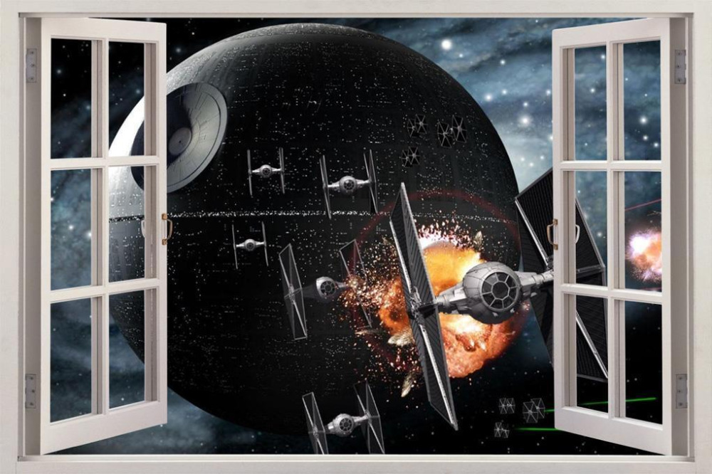Star wars death star 3d window view decal wall sticker for Sticker mural 3d
