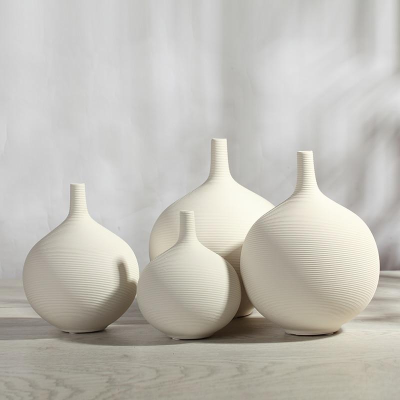 White Unglazed Ceramic Vase Flower Pot Ornaments White