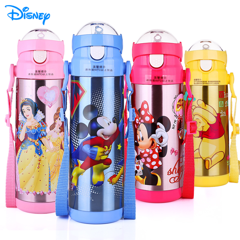 Disney 500ML Stainless Steel Baby Thermal Feeding Cup with Straw Kids Milk Bottle Outdoor Portable Insulation Kettle Leak-poof цена
