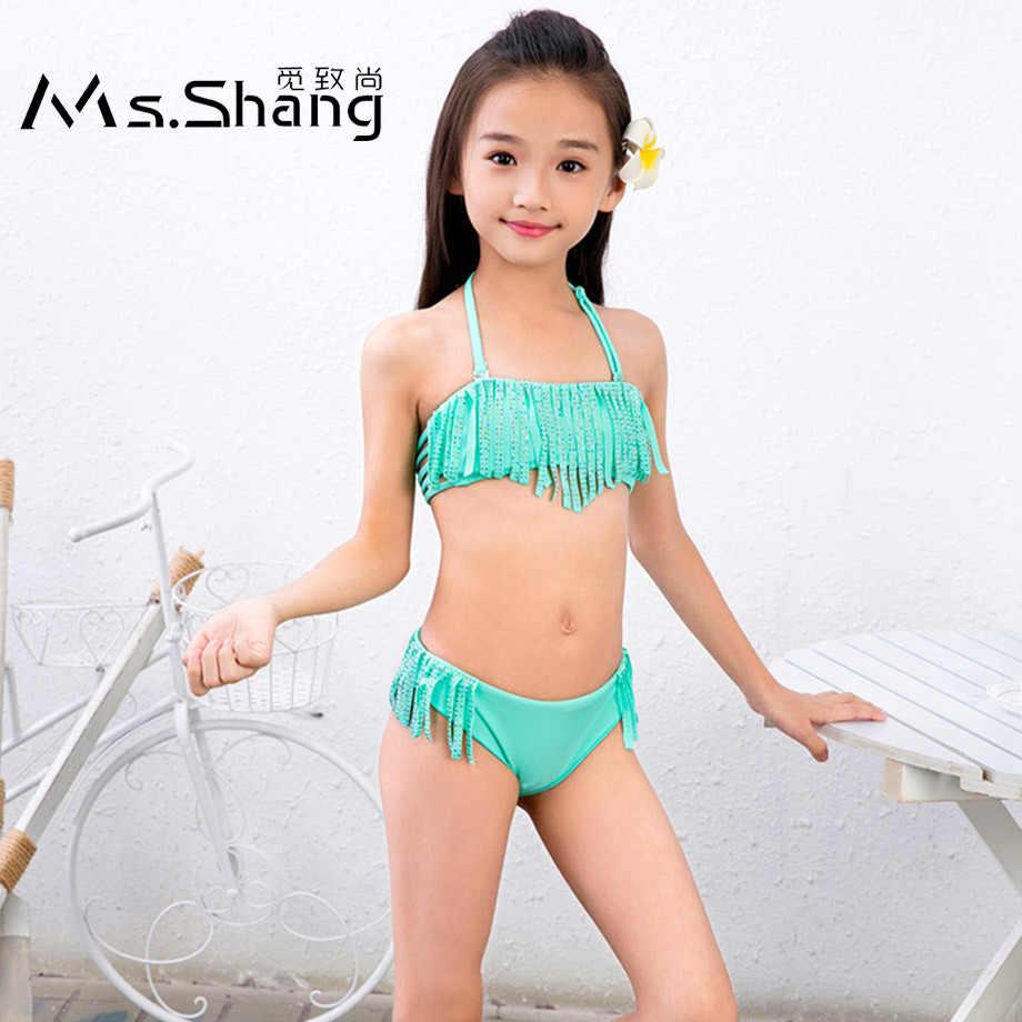 Ms Shang 7 16 Anni Di Bambino Della Ragazza Del Costume Da Bagno Halter Top Per Bambini Costumi Da Bagno Delle Ragazze Bikini Set Di Strass Nappa Capretti Del Bambino Di Nuotata