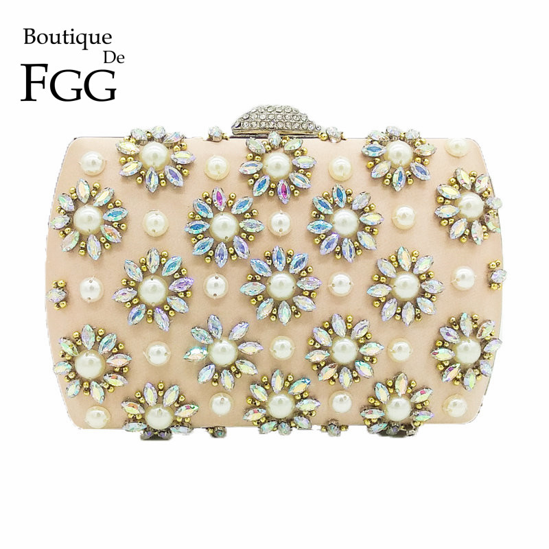 Top-handle Bags Luggage & Bags Elegant Beaded Women Evening Bags Diamonds Finger Rings Purse Day Clutches Handbags Red/black/champagne Pearl Wedding Bags Wy28