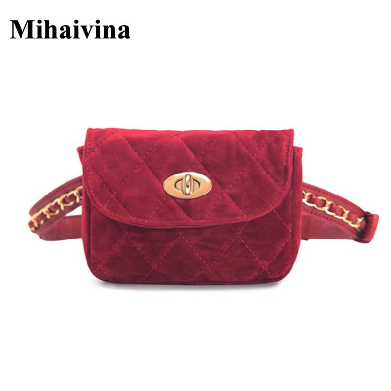 Forró eladó nők derék csomag lánc öv derék táskák utazás mobiltelefon táska Bolsas mini kockás női derék csomagok Bolosa