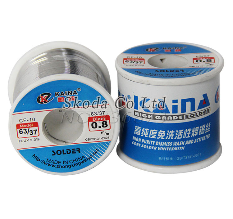 купить Free shipping KAINA 0.4/0.5/0.6/0.8/1mm 450g Solder Wire 63/37 Tin Lead Tin Wire Solder Rosin Core Solder Flux Soldering Welding по цене 1351.97 рублей