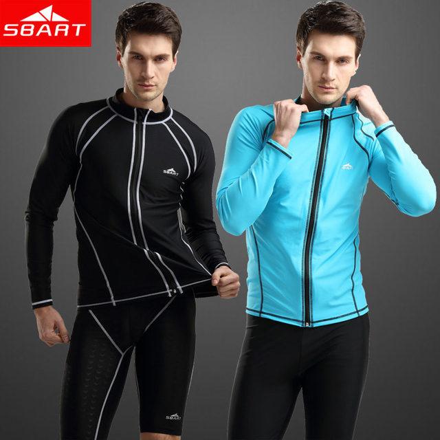 4b0725acaaa SBART Rashguard Swim Shirts Zipper UPF50 UV Mens Long Sleeve Rash Guard  Diving Wetsuit Men Jacket Top Surf Windsurf Black Blue L